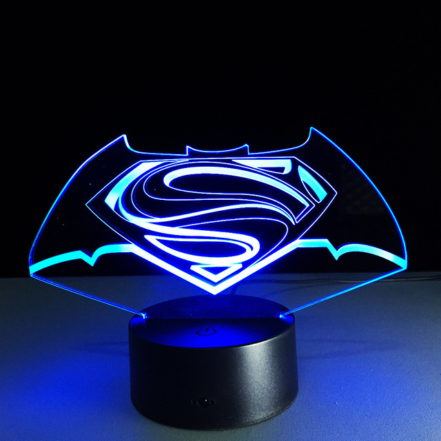 New Colorful Visual Stereo Lamp Superman Vs Batman LED Touch Gradient  Changing 3D Lamp Creative Energy