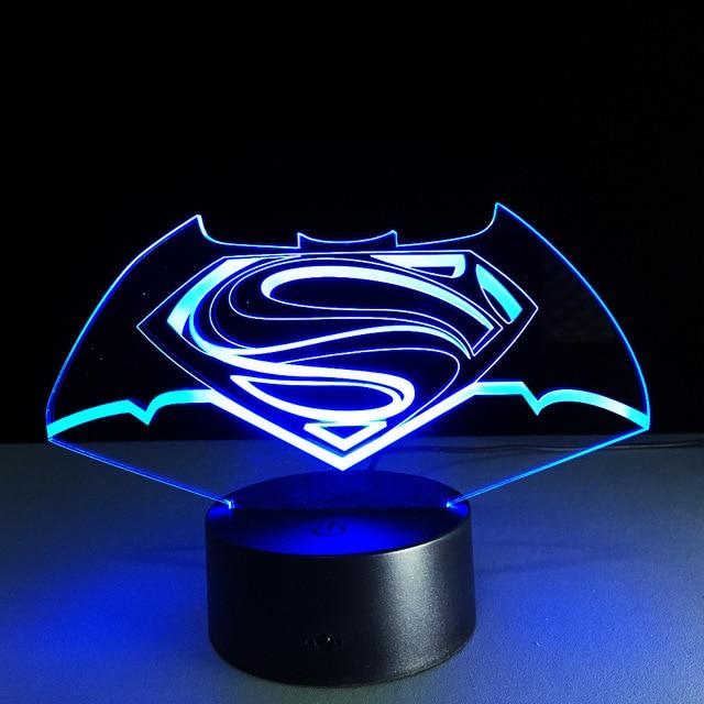 New Colorful Visual Stereo Lamp Superman Vs Batman Led