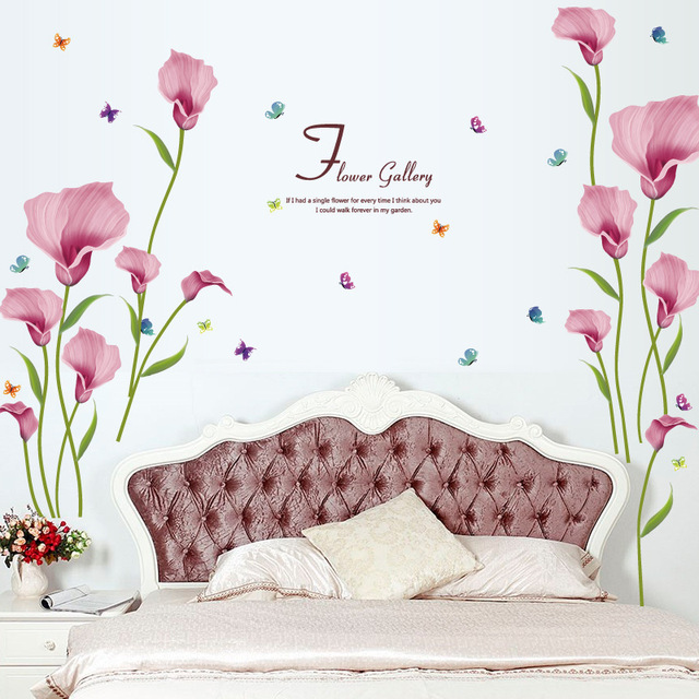 New Design Romantic Beautiful Pink Morning Glory Home Decoration Wall Sticker Living Room Entrance Decals