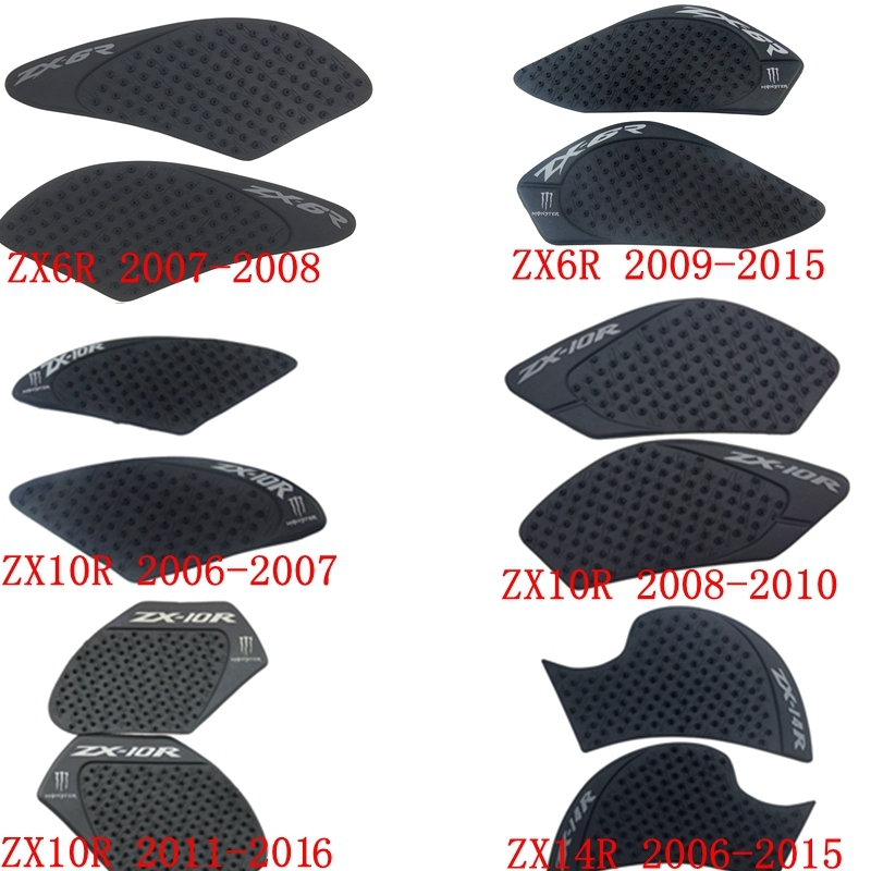 Anti Slip Gas Tank Traction Grip Side Pads Protector for Kawasaki Ninja ZX-14R 2006-2015