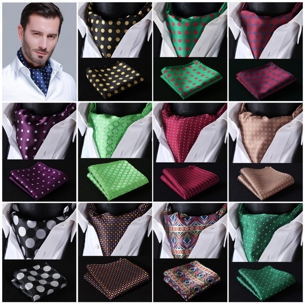 Polka Dot 100%Silk Ascot Pocket Square Cravat, Casual Jacquard Dress Scarves Ties Woven Party Ascot Handkerchief Set #A5-in Men's Ties & Handkerchiefs from Apparel Accessories on AliExpress