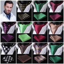 Polka Dot 100%Silk Ascot Pocket Square Cravat, Casual Jacquard Dress Scarves Ties Woven Party Ascot Handkerchief Set #A5