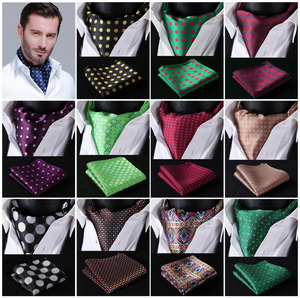 Image 1 - Polka Dot 100%Silk Ascot Pocket Square Cravat, Casual Jacquard Dress Scarves Ties Woven Party Ascot Handkerchief Set #A5