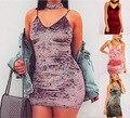 Новое Прибытие Тонкий Скольжения Бархатное Платье Свадебные Платья Фиолетовый Bodycon Женщины Сексуальное Холтер V Спагетти Ремень Платье