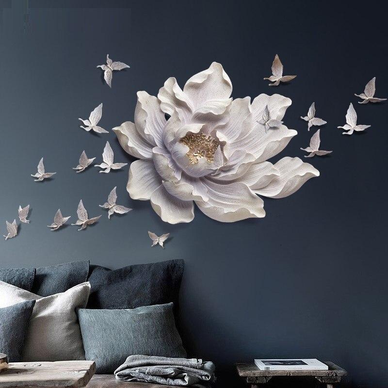 3D stéréo tenture murale résine fleur + papillon décoration de la maison artisanat Restaurant hôtel mur ornement salon canapé Mural R723