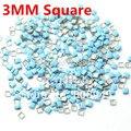 Promoción! uñas ACC 1000 unids/pack 3 MM plaza del color del caramelo azul claro 3D arte del metal estilo fresco para del clavo envío gratis
