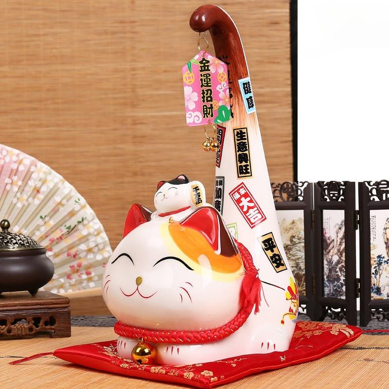 1pc Japanese Style Maneki Neko Ceramic Lucky Cat Cartoon Long Tail Cat Statue Feng Shui Business Ornament Home Decoration