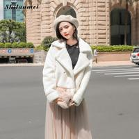 New Arrival Woman 2018 Winter Thicken Warm Coat White Long Sleeve Lapel Elegant Lady Streetwear Jacket Manteau Femme Hiver