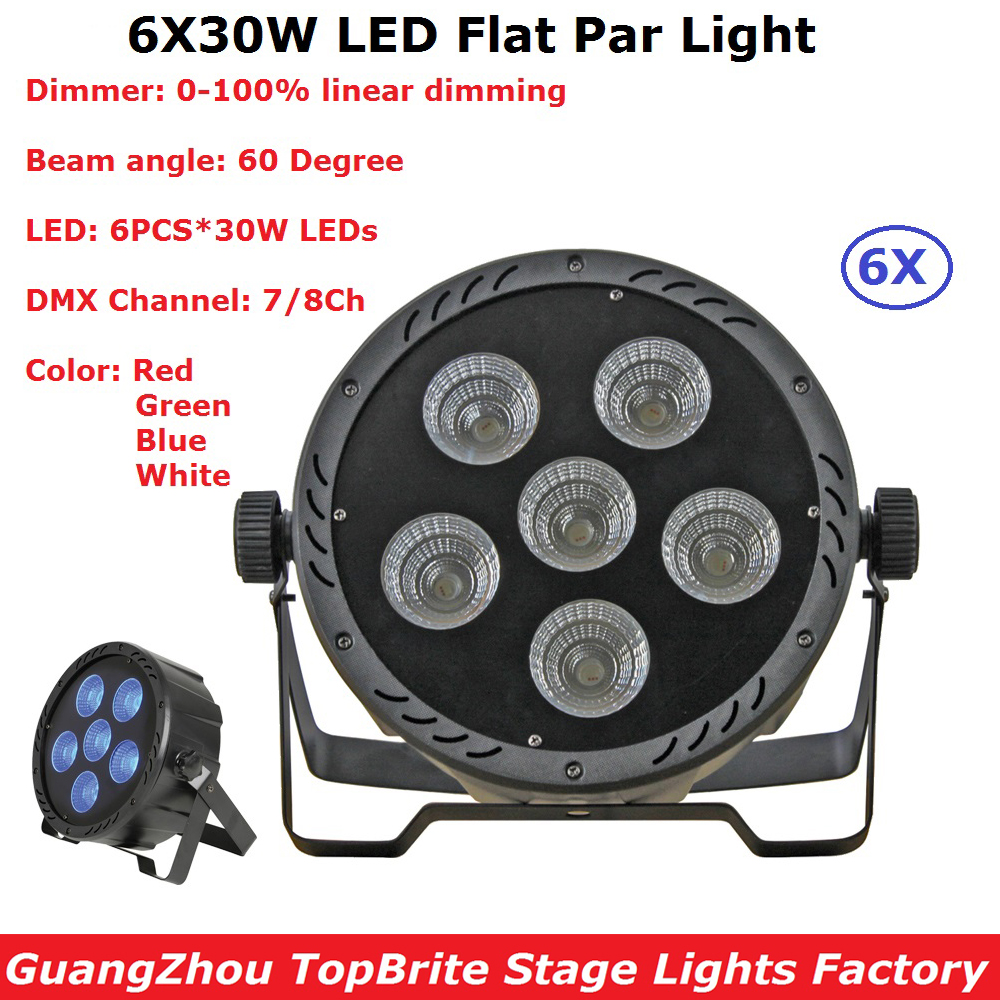 Фотография 6Pcs Led Par Light 6X30W 4IN1 RGBW Flat Plastic LED Par Lights Disco Lamp Stage Lights Professional Dj Lighting Shows Equipment