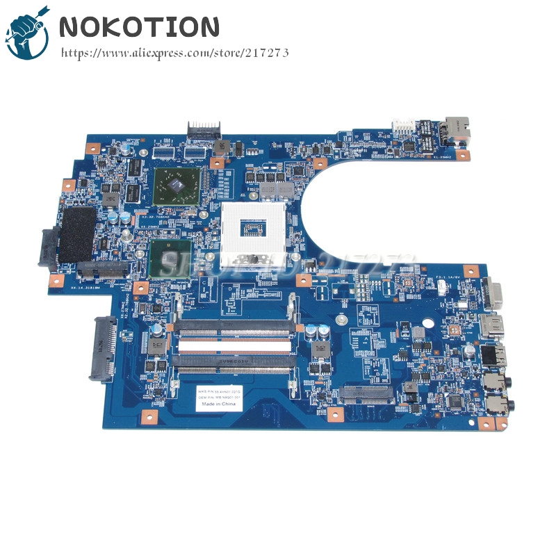 NOKOTION MB.N9Q01.001 MBN9Q01001 Laptop Motherboard  For Acer aspire 7741G Main Board 09923-1M 48.4HN01.011 HM55 DDR3 nokotion z5wae la b232p for acer aspire e5 521 laptop motherboard nbmlf11005 nb mlf11 005 ddr3