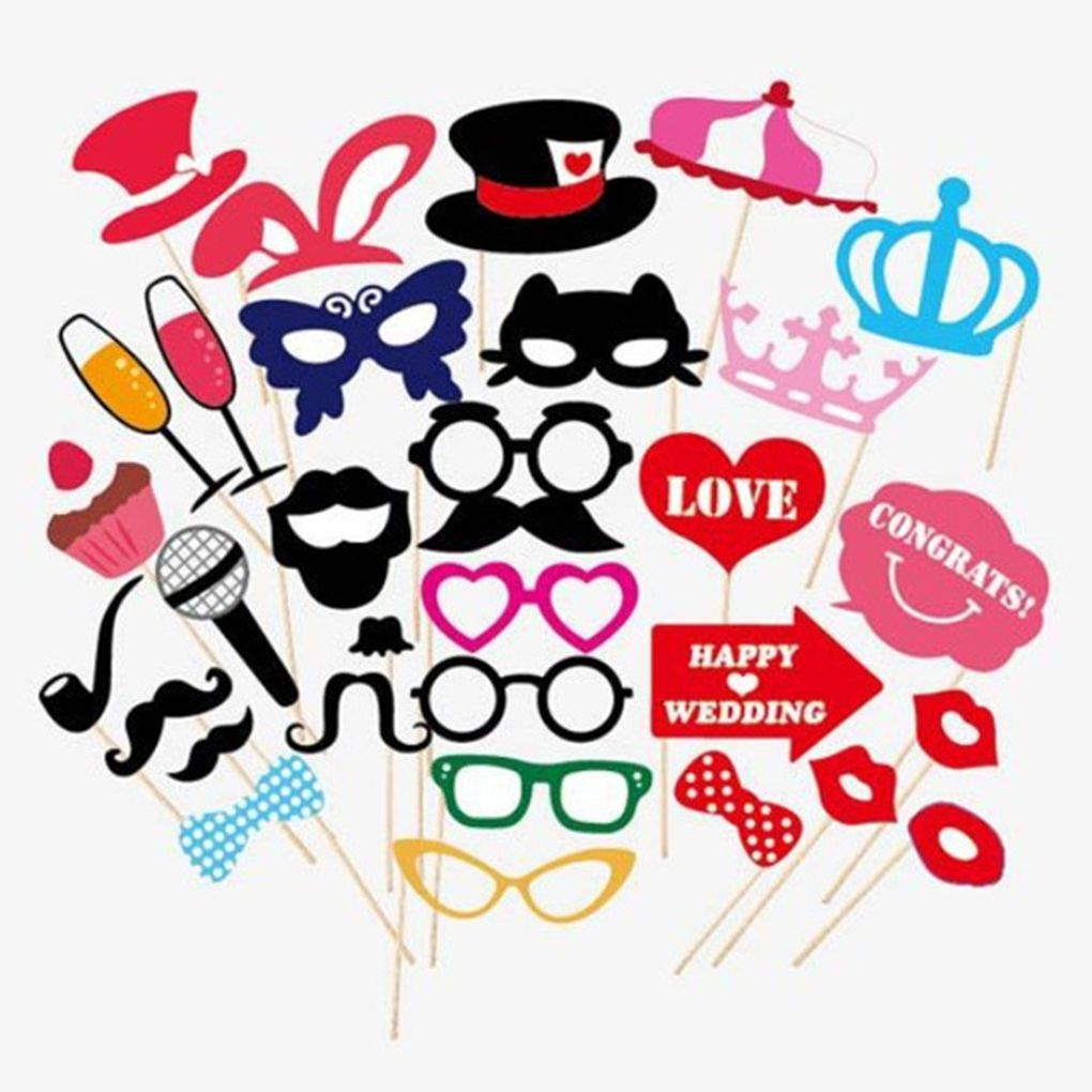 Simple easy 31pcs Photo Booth DIY Mask Black Mustache Stick Props Wedding Birthday Christmas Party