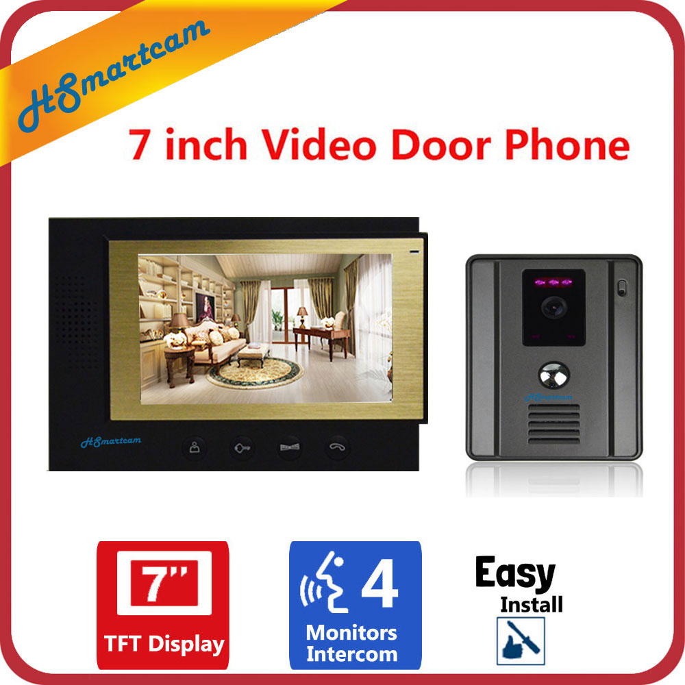 7 LCD Monitor Video Door Phone Video Doorbell Intercom system Home Security Night Vision Wide Angle IR HD Camera Video portero homefong 7 tft lcd hd door bell with camera home security monitor wire video door phone doorbell intercom system 1200 tvl