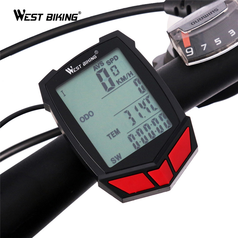 WEST BIKING Bicycle Computer Wireless 20 Functions Speedometer Odometer Cycling Computer Wired/Wireless+ Stopwatch Bike Computer