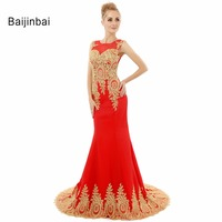 Real Sample Luxury Sheer Neck Red Long Party Evening Dresses Elegant Appliques Lace Beaded Mermaid Prom