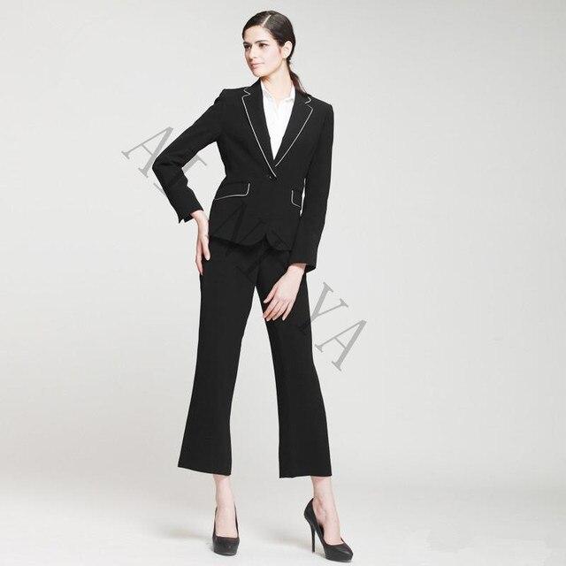 Baru Hitam dan Putih Perempuan Celana Jas Formal Pakaian Kerja wanita  Elegan Lengan Panjang Blazer dengan d6e924204c