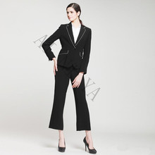 New Black and White Female Elegant Pant Suits Formal Work Wear Women's Long Sleeve Blazer with Trousers Ladies Office Uniform