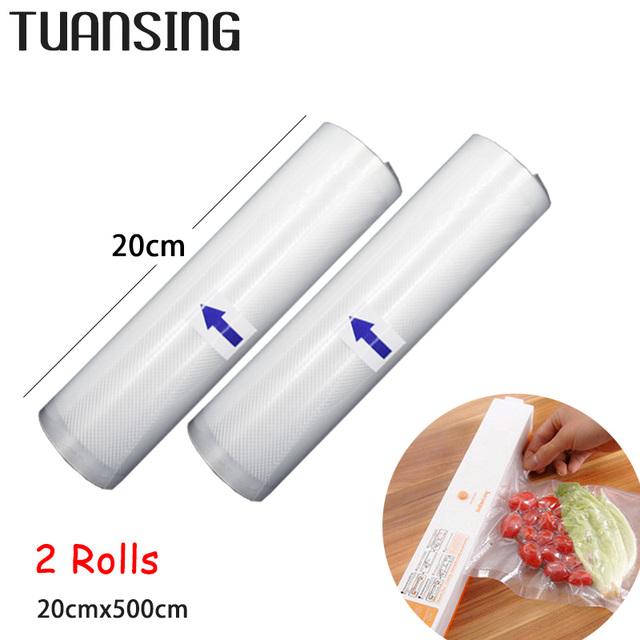 2 Rolls/Lot 20cm x 500cm Vacuum Heat Sealer Food Saver Bags Food Fruit Storage Bags Saran Wrap for Vacuum Food Sealer Machine