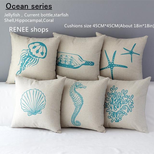 spesso Cuscino mediterraneo mare blu vita marina ippocampale medusa  RJ59