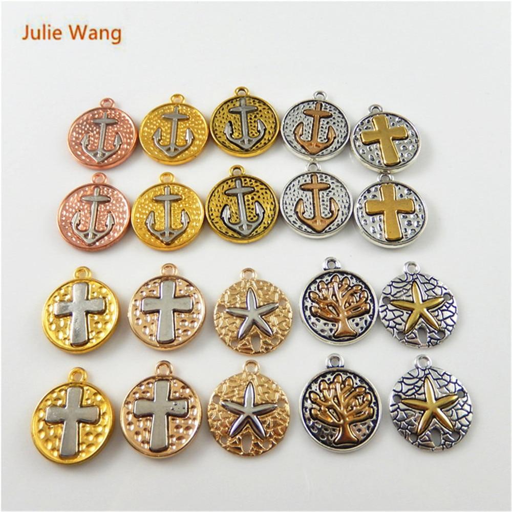 Julie Wang 20 PCS Cor Misturada Âncora de Suspensão Da Árvore Da Estrela Cruz Mixed Pingentes Colar Pulseira Jóias Acessório Bonito Brinco