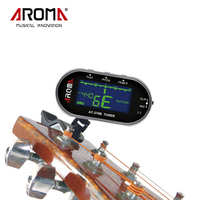 Aroma Electric Clip On Guitar Tuner Clip Mic Tuning Way With Backlit LCD Screen For Chromatic