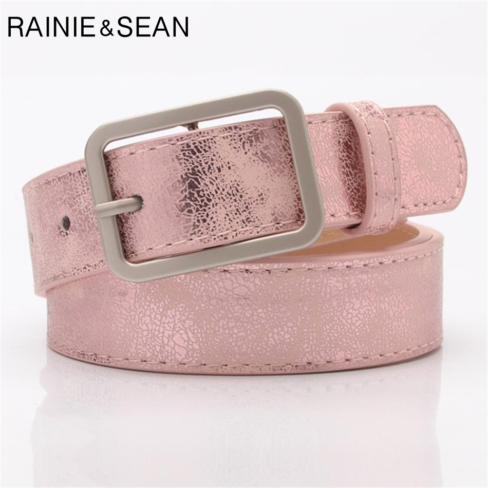 RAINIE SEAN Women Belt Square Pin Buckle Pink Ladies Waist Belt For Jeans Pu Leather Spring Summer Female Belt For Trousers