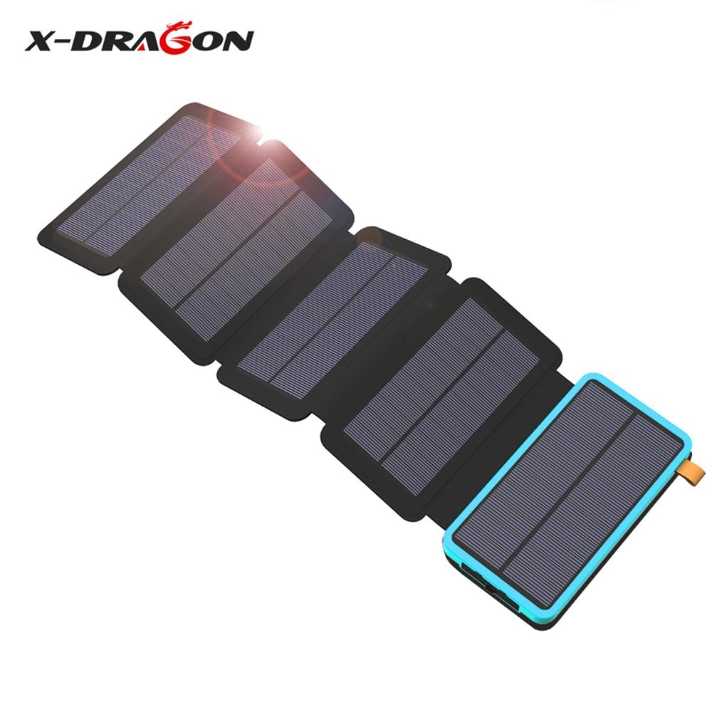 X-DRAGON Solar Phone Charger 20000mAh Solar Power Bank for iPhone 4s 5s SE 6 6s 7 7plus 8 X iPad Samsung HTC Sony LG Nokia.
