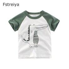 Boys Cotton white T shirt Fstreiya 2019 summer new Kids Short tiny cottons Tees children animal print crocodile Tops baby cloths
