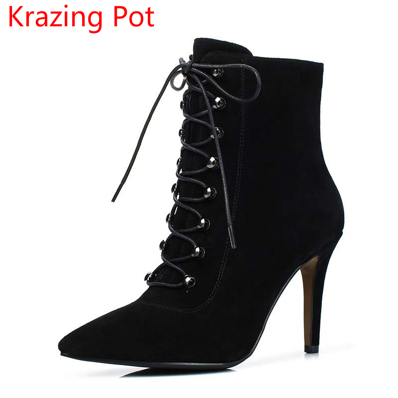 2018 Cow Suede Pointed Toe Lace Up Winter Boots High Street Stiletto High Heels Cross-tied Superstar Nightclub Ankle Boots L65 newest design pointed toe long boots thin high heels thigh high boots army green suede lace up skinny dress boots nightclub shoe