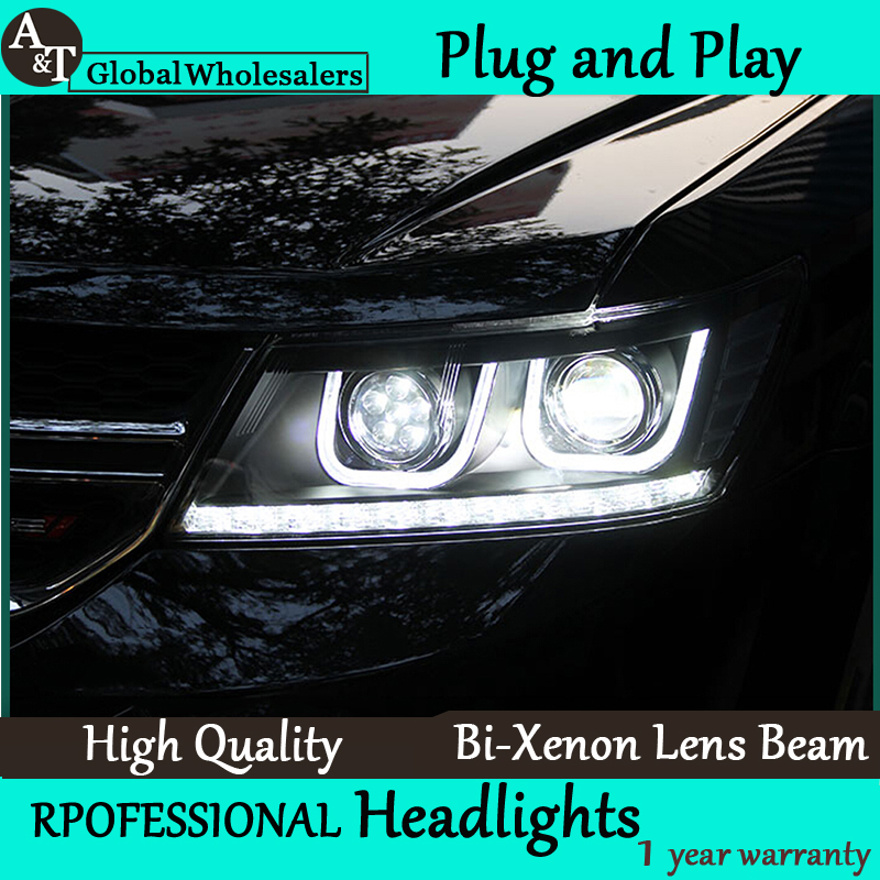 Car Styling for Dodge JCUV LED Headlight 2008-2015 Journey Headlights Freemont drl Lens Double Beam H7 HID Xenon accessories for dodge journey fiat freemont 7seats jc 2010 2017 2015 2016 inner floor mats foot pad car leather carpet kits