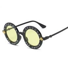 324ce137099995 Rétro lunettes de Soleil Rondes Anglais Lettres Petite Abeille Soleil  Lunettes Hommes Femmes Marque Lunettes Designer De Mode Fe.