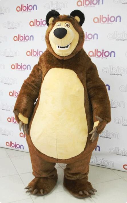 High Quality Masha Bear Ursa Grizzly Mascot Costume Cartoon Character Free Shipping