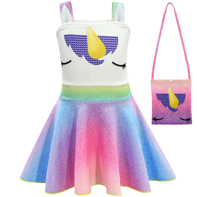 2019 new summer dress Unicorn Cosplay Girl Sling Dress Bag Hat Set Party Performance Performance Costume in Girls Costumes from Novelty Special Use
