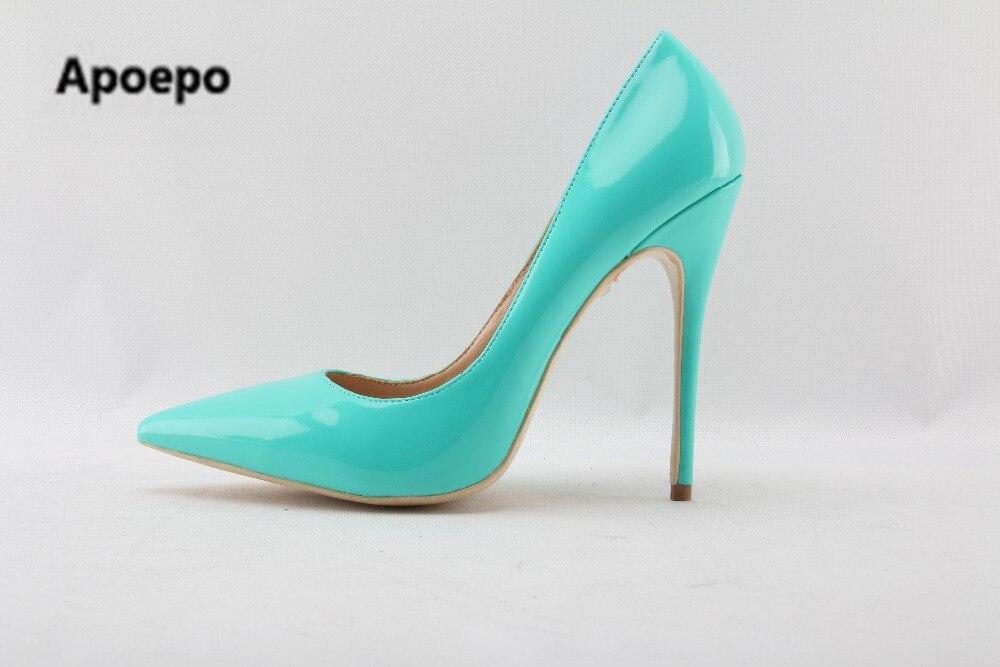 4339c174 Najnowszy marka buty damskie niebieskie seksowne czółenka ze skóry  lakierowanej szpiczasty toe wysokie obcasy buty kobiet