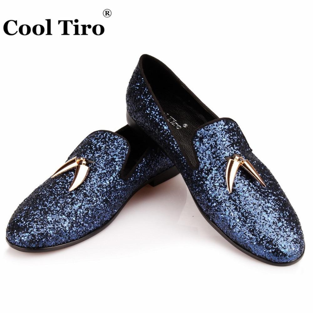 Navy blue Glitter Loafers Men Smoking
