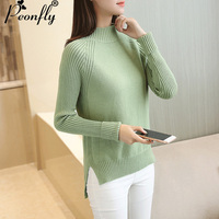 PEONFLY2017 Half A Turtleneck Sweater Women Autumn Winter Women Sweaters And Pullovers Female Split Tricot Jumper