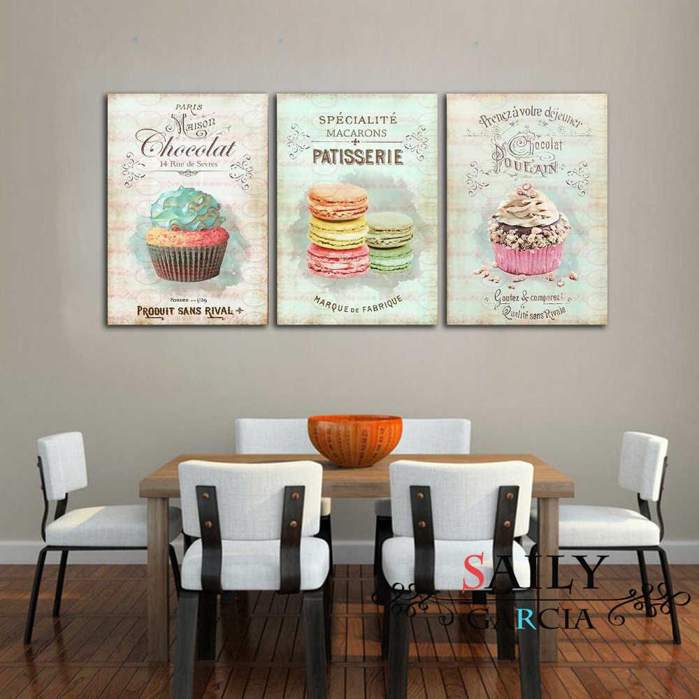 북유럽 장식 홈 포스터 주방 레스토랑 디저트 빵 캔버스 회화 벽 예술 그림 거실 장식 없음 액자