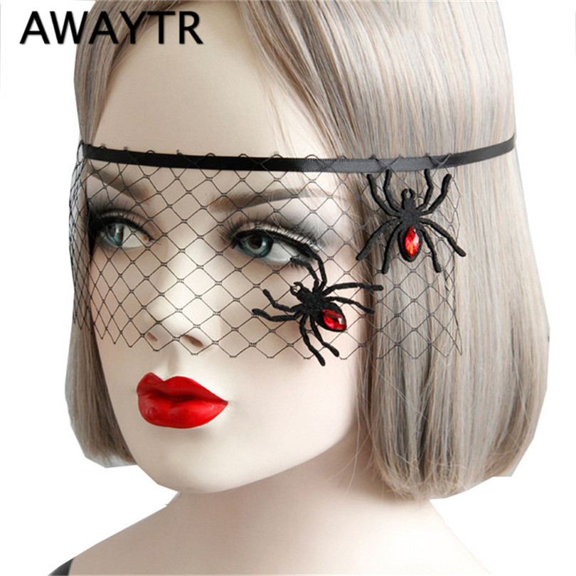 AWAYTR Halloween Women Sexy Black Lace Gauze Spider Snowflake Mask Headband Hair Bands Makeup Prom Party Elegant Headwear halloween party zombie skull skeleton hand bone claw hairpin punk hair clip for women girl hair accessories headwear 1 pcs