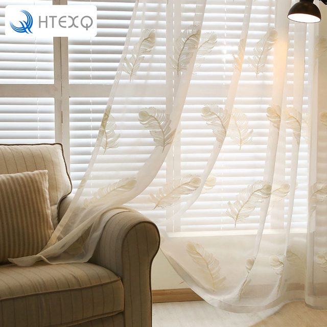 Aliexpress buy modern white feather embroider voile curtains modern white feather embroider voile curtains bedroom sheer curtains for living room tulle window curtains ccuart Gallery