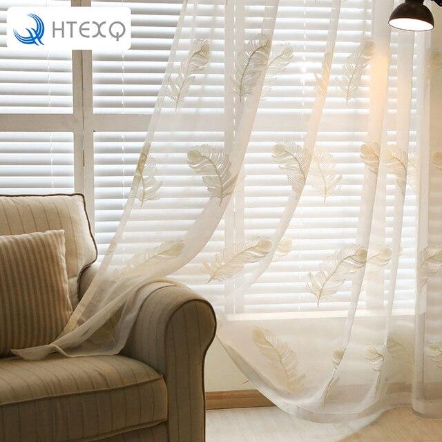 Moderne Weisse Feder Sticken Voile Vorhnge Schlafzimmer Gardinen Fr Wohnzimmer Tll Panels Fenster
