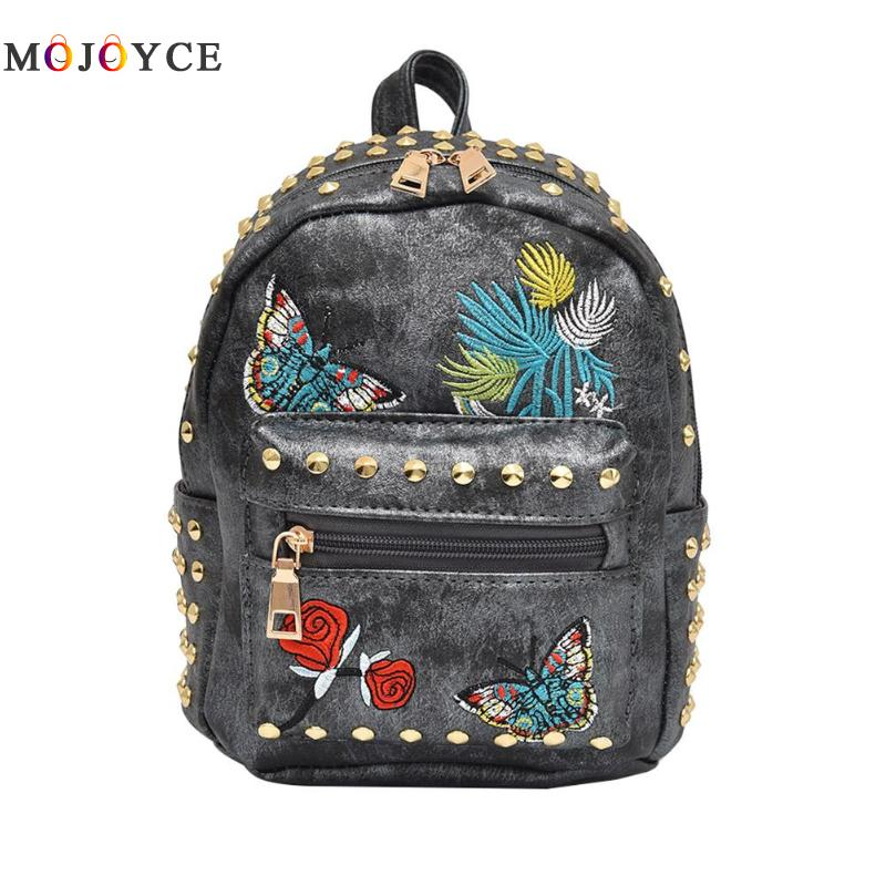 Butterfly Floral Embroidery Backpacks Women Fashion Shoulder PU Leather Rivet Mini Backpacks for Teenage Girls Mochila Butterfly Floral Embroidery Backpacks Women Fashion Shoulder PU Leather Rivet Mini Backpacks for Teenage Girls Mochila
