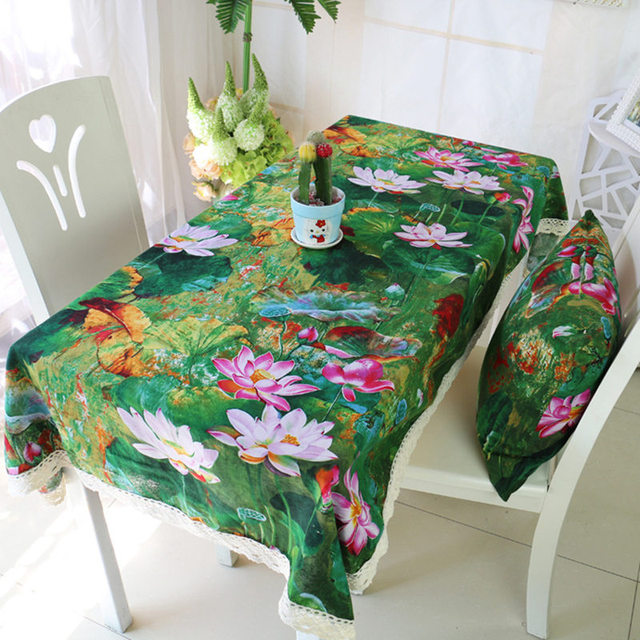 Hot Sales Rustic Linen Tablecloth Flower Printing Table Cloth Zakka Dining  Room Tablecloth With Lace For