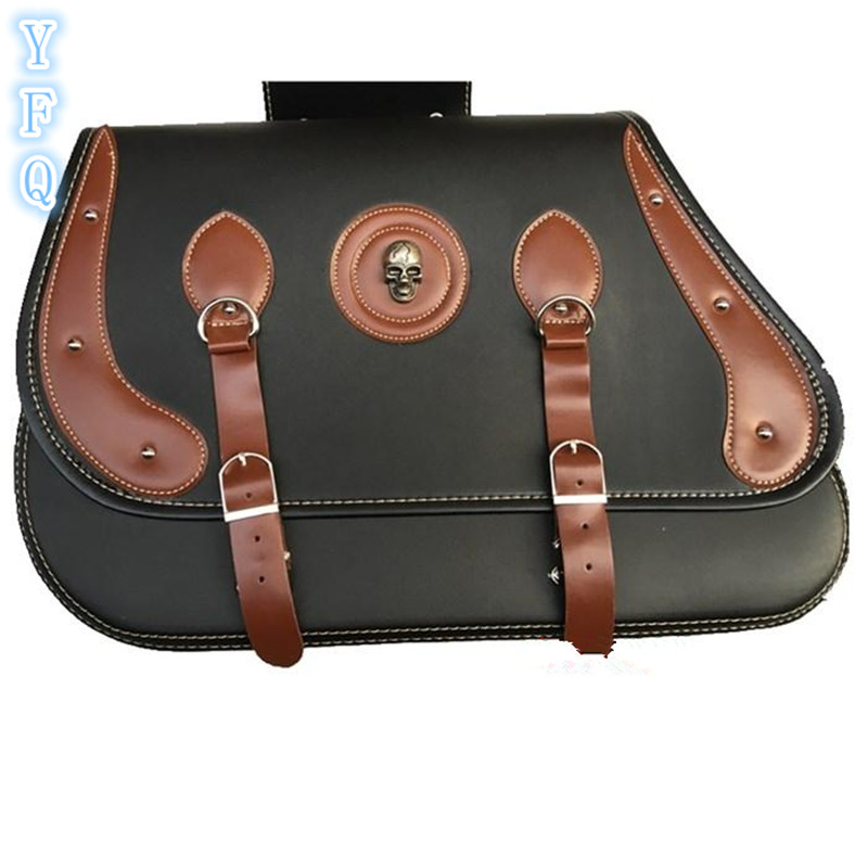 Motorcycle luggage bags PU leather motorcycle side bag saddle bag kit side box Black and brown for Halley cruise Prince 40 #
