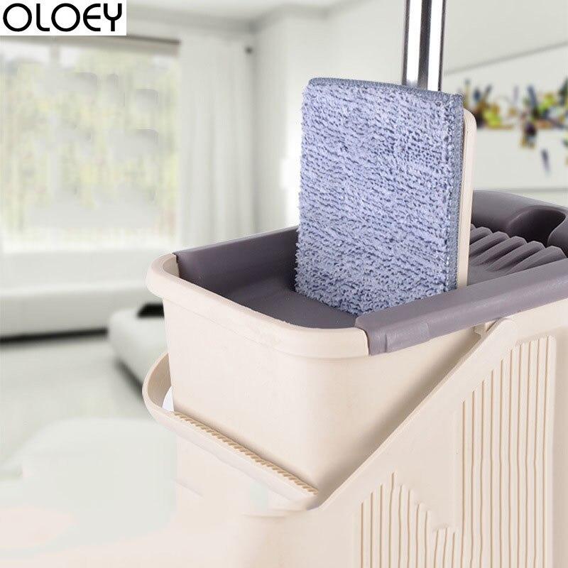 1 PC livraison directe vadrouille avec seau 2 pièces remplacement vadrouille chiffon magique nettoyage de sol presser plat vadrouilles cuisine plancher nettoyant