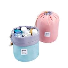 SAFEBET Women's nylon round cosmetic bag large capacity bathroom wash waterproof makeup travel tissue storage bag