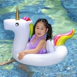 3 цвета Единорог Детские ездить на бассейн кольцо надувной бассейн поплавок для Для детей, на лето воды сиденье безопасности пляжный лежак