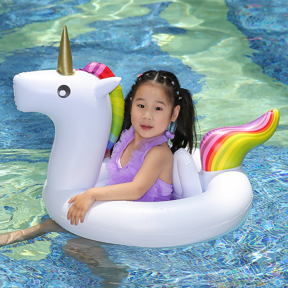 3 Color Unicorn Baby Ride-on Swimming Ring Inflatable Pool Float For Kids Summer Water Safety Seat Beach Lounger Boia Piscina