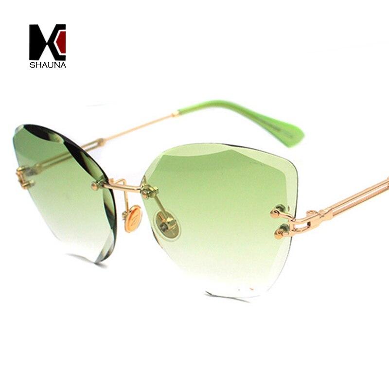 SHAUNA Fashion Women Rimless Sunglasses Classic Ladies Cat Eye Gradient Lens Shades UV40 ...
