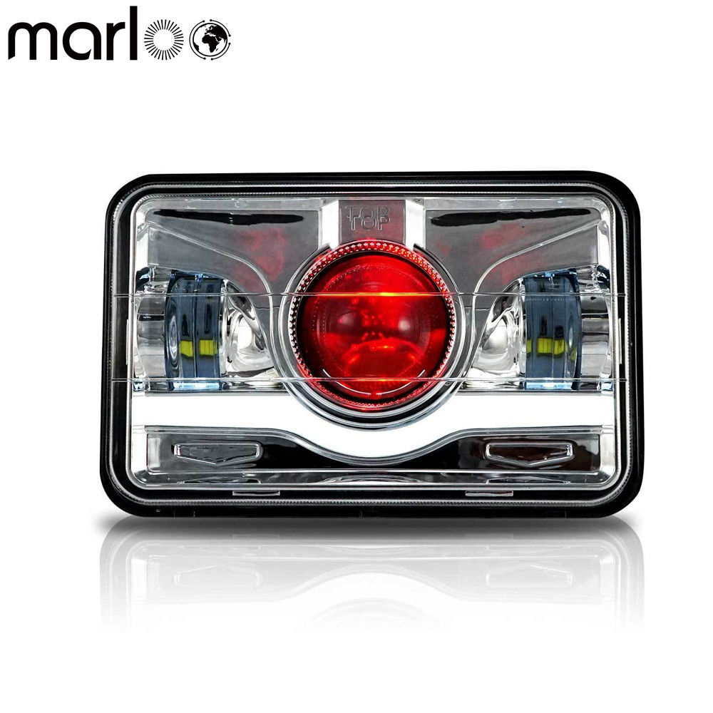 Marloo Red Demon 4x6 LED Headlight Conversion Motorcycle Lamp For Honda XR250 XR400 XR650 Suzuki DRZ