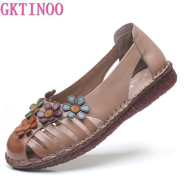 GKTINOO cuero genuino señoras zapatos planos de verano Mujer Slip On Casual mocasines con flores punta redonda sandalias de comodidad suave Mujer