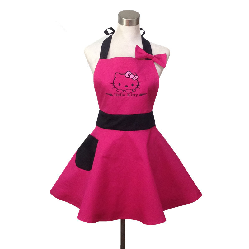 hot pink cute hello kitty kitchen apron for woman avental de cozinha divertido tablier cuisine. Black Bedroom Furniture Sets. Home Design Ideas